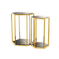 Набор из двух приставных столиков Taro золотистая отделка