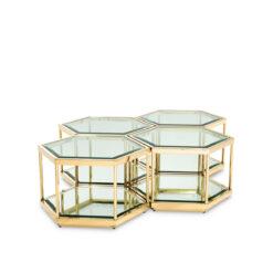 Набор из четырёх кофейных столиков SAX золотистая отделка