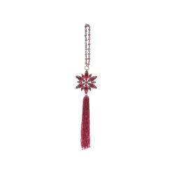Украшение для ёлки Снежинка с кисточкой красная